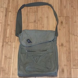 GUESS unisex canvas crossbody messenger bag green